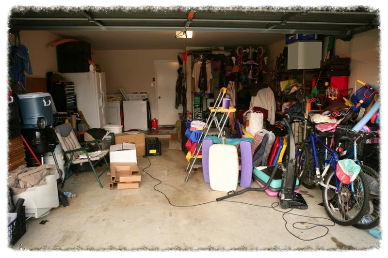 messy abandoned garage full of stuff chaos at home     Note  Slight blurriness, best at smaller sizes