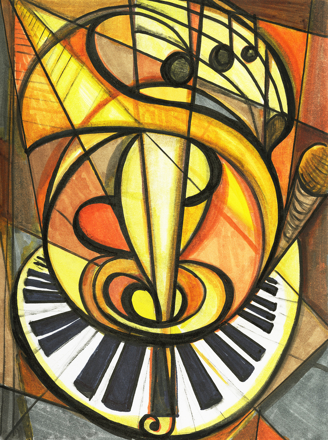 Fine art of music artwork cubist ensemble of instruments.