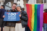 Kittredge Cherry and Audrey at marriage equality vigil