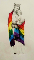 Madonna with Rainbow Flag by Richard Stott