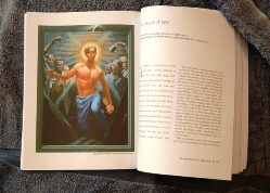 Passion book open to Jesus Rises