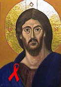Jesus with red ribbon