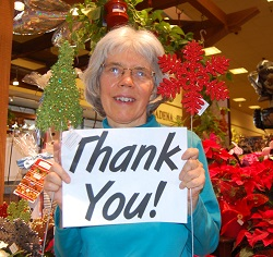 Kittredge Cherry with thank you sign