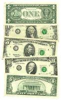 $1, $5 and $10 dollar bills