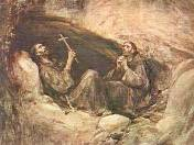 Francis and friend in cave by Jose Benlliure y Gil
