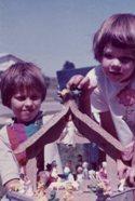 Kittredge Cherry, age 4, with Nativity set