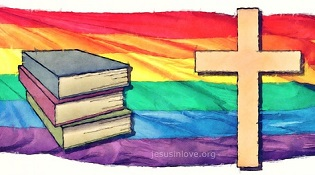 Books and cross with rainbow flag
