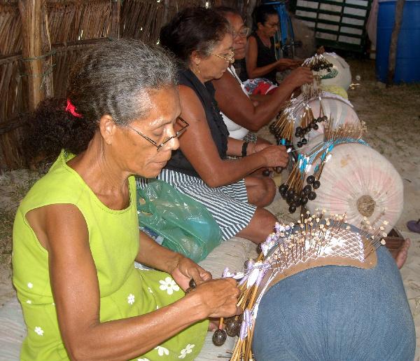 Women making lace in Brazil