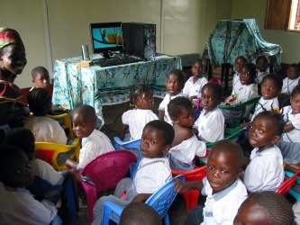 Preschoolers at Cyber Cafe in Congo