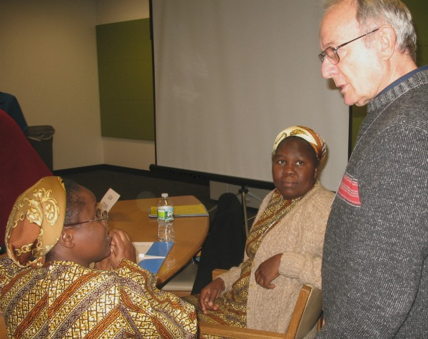 Sisters speak with attendee at U.N. presentation
