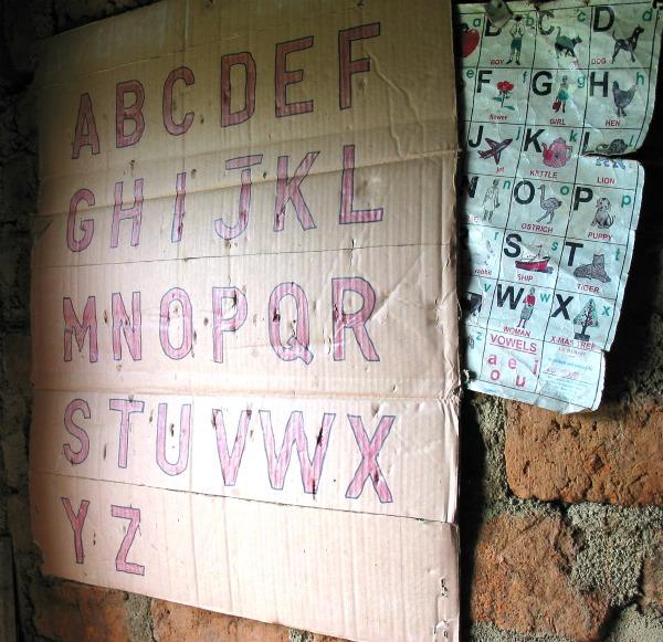 ABC on cardboard