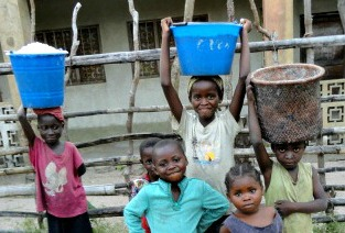 water buckets on kids' heads