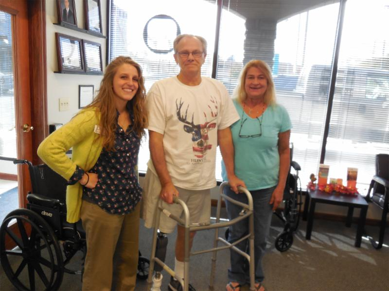 Patient Stephen Grove, wife Sharon and resident Jaimie Howard