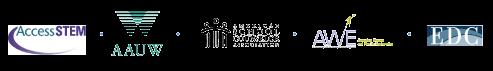 Access STEM, AAUW, ASCA, AWE, EDC, NGCP, logos