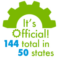 It's Official 144 total in 50 states logo