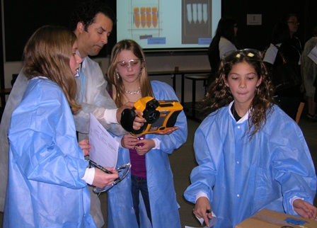Girls learning how to use imaging tools to see inside a cardboard box.