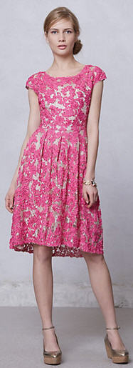 Anthropologie Pink Lace Dress