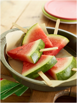 Watermelon Slices with Popsicle sticks