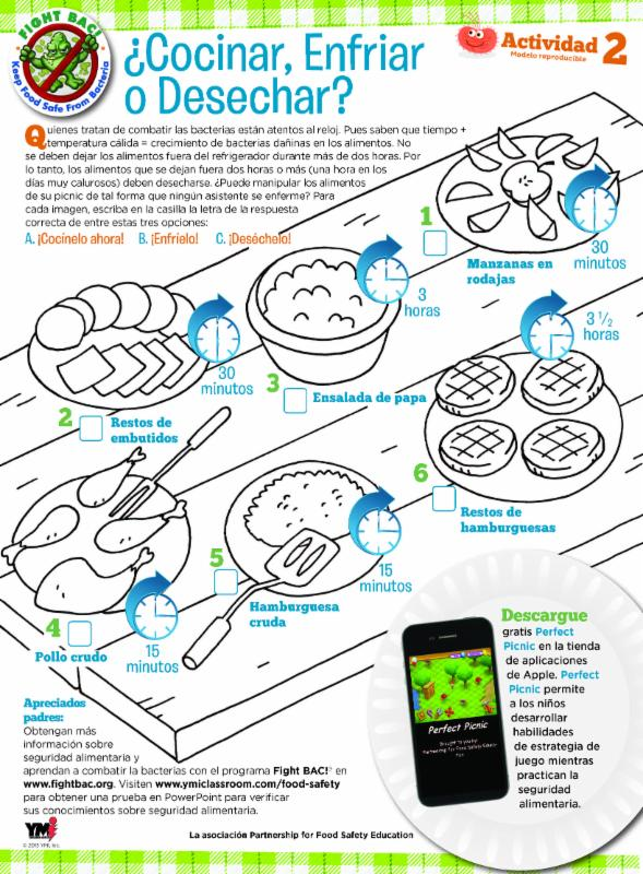 image of Spanish language activity for kids Perfect Picnic