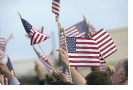 Handheld flags waving