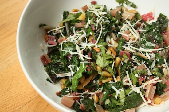 Chard with pine nuts and basil