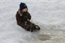 Patient girl goes ice fishing