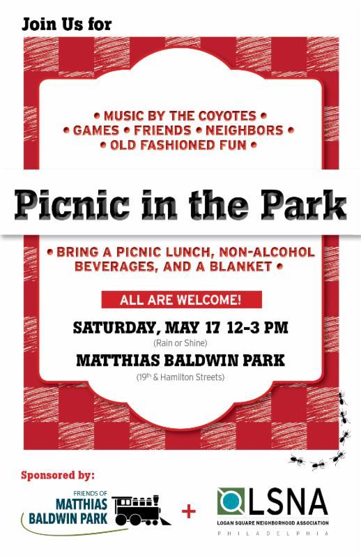 Baldwin Park Picnic on Sat., May 17th 12noon