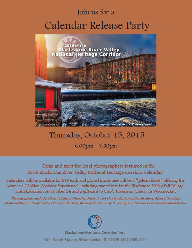 ... the 2016 Blackstone River Valley National Heritage Corridor calendar