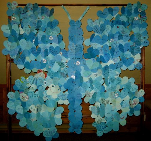 blue butterfly art display at TCR