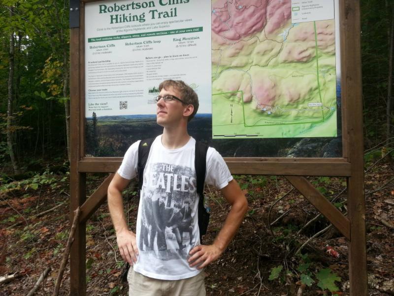 Nick Sadro hiking Roberson Cliffs