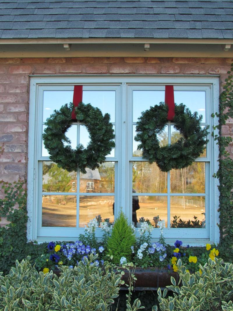 wreaths on door