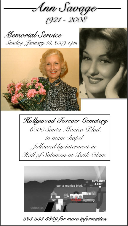 Ann Savage Memorial Invitation
