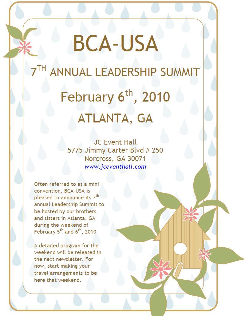 2010 Leadership Summit Flyer