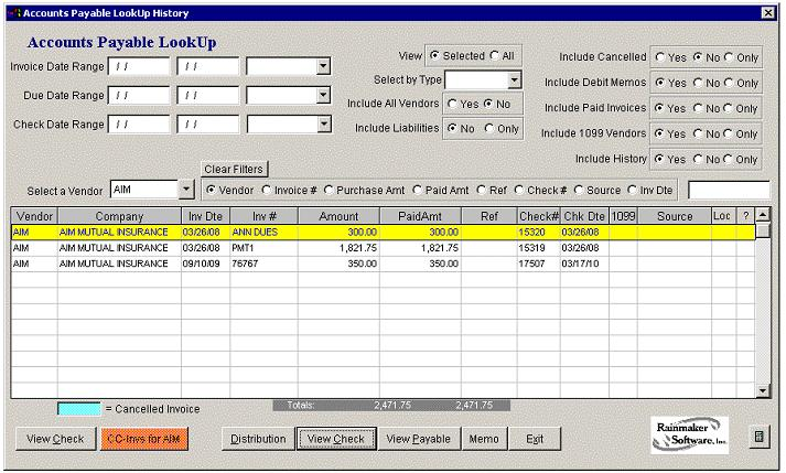 Accounts Payable Lookup