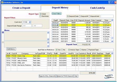 Cash Deposits Window