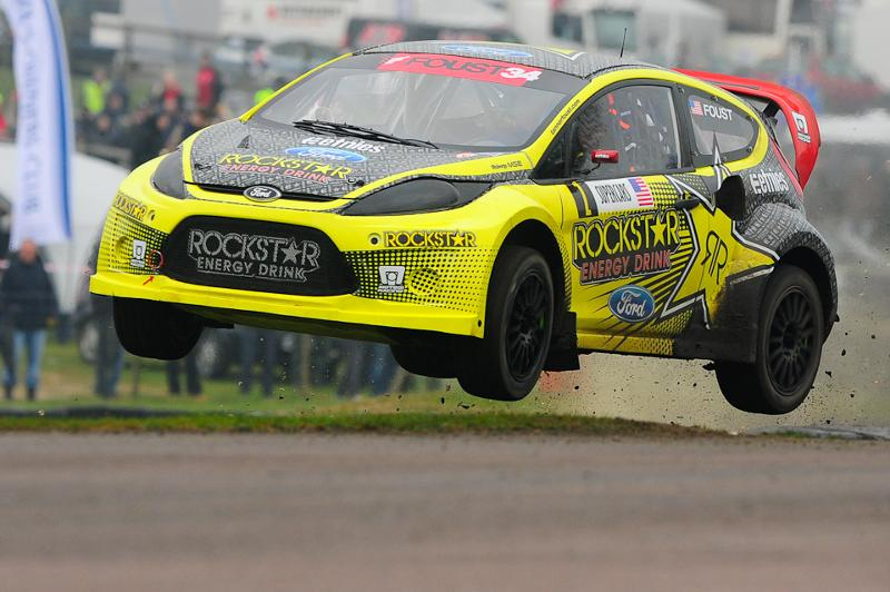 Tanner Foust takes 2012 European Rallycross Championship victory in the Rockstar Energy Drink Ford Fiesta.