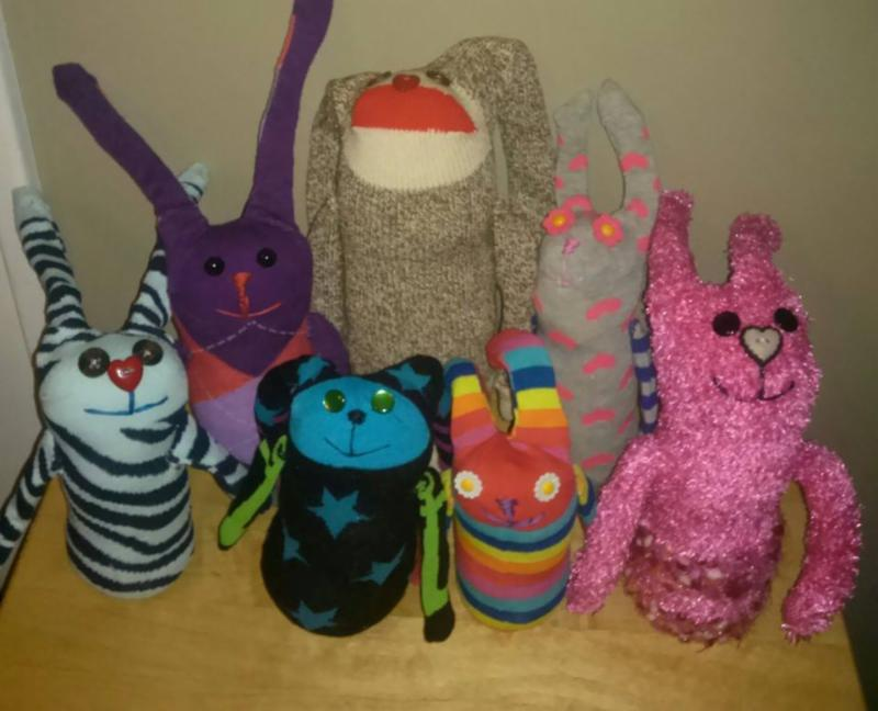 At the Market on April 19 - Sock Rabbits by local artist, Jessie Stallings.
