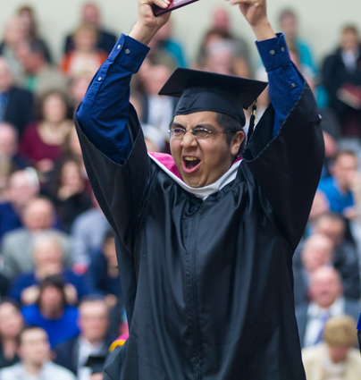 Excited grad with diploma