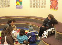 Kids reading to dog, Katey