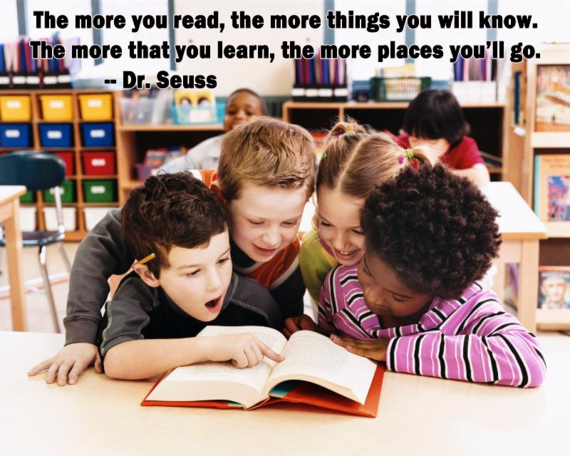 Kids reading & Dr. Seuss quote