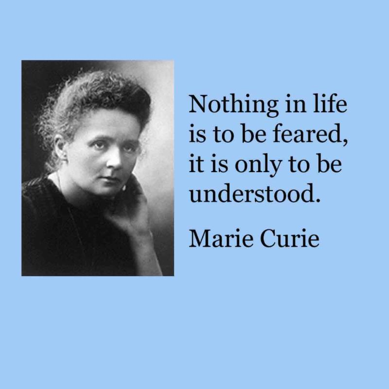 Marie Curie quote.