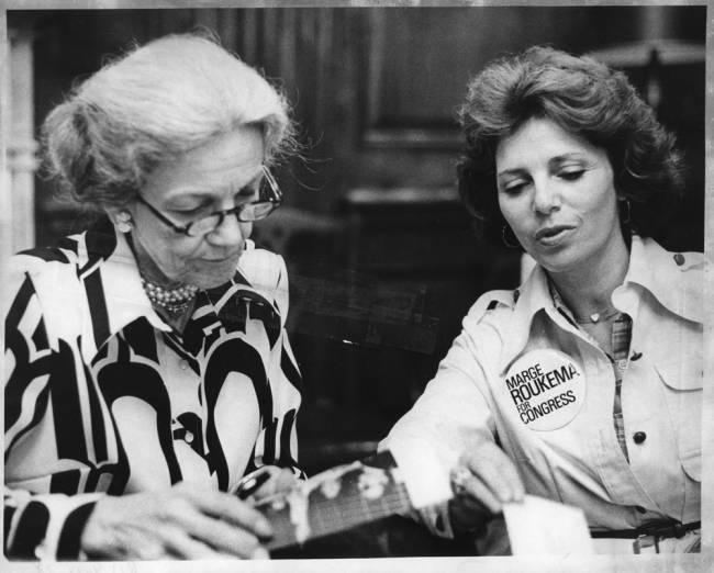 Marge Roukema (right), Republican congressional candidate, meets with Rep. Millicent Fenwick in Washington to discuss health care needs for senior citizens on Sept. 14, 1978. (Photo credit NorthJersey.com)