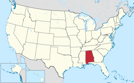 Alabama in U.S. map