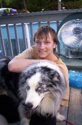 Ryan Michael Baldwin with Dog