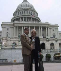 Julio & Sandy Bermeo on the steps of Capitol Hill
