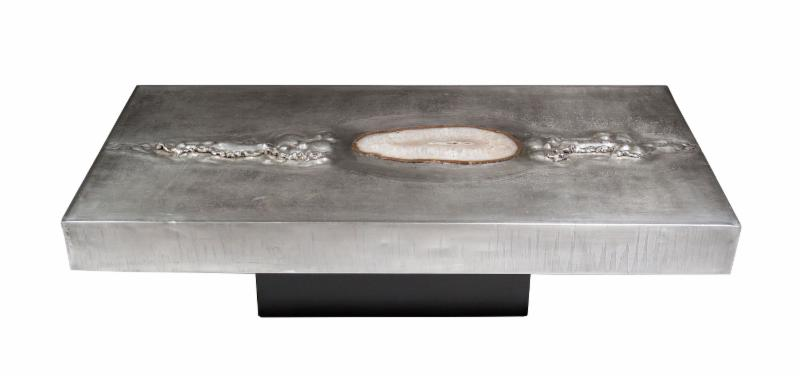 Post war aluminum coffee table inset with quartz stone (signed Marc  D'Haenens) 1970 - 314.jpg?a=1119141907269