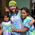 Kitzi with girls at Madre de Dios