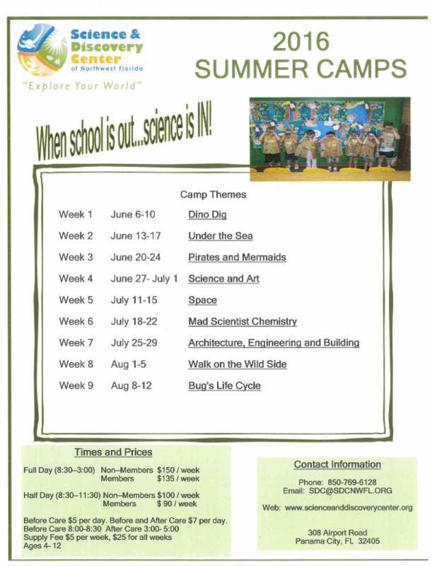 Summer Camps available at Science & Discovery Center …….