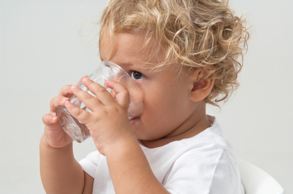 child with water