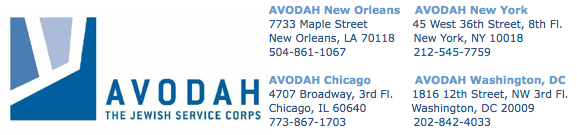 AVODAH logo plus addresses